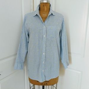 Lands End Striped Button Up Shirt with Embroidery